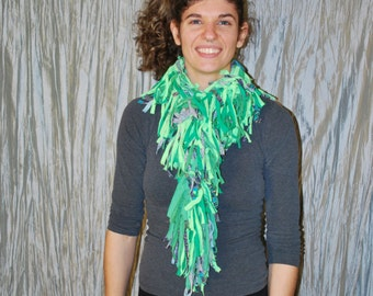 Fringy tee shirt scrappy scarf