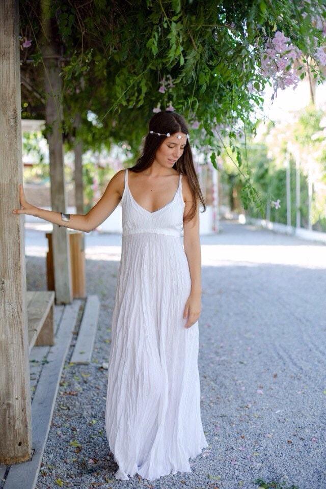 Linen dress beach wedding dress long white linen for White linen dress for beach wedding