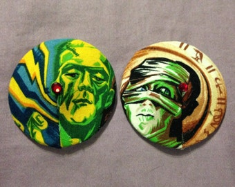 Horror movie pasties and tassels, the Mummy and Frankenstein, multicolored cotton, size medium