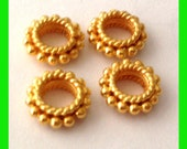 10pcs  8mm Gold plated sterling silver twisted wire rondelle bead Spacers VS50