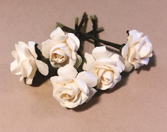 Ivory Rose, Bridal Wedding Hair Accessories,  Bridesmaid Hair Accessories, Ivory Hair Flower, Brass Bobby Pins - Set of 5