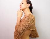 Cropped Top, Boho Crochet Flower Lace Top, Gold Beige Shirt, Cropped Sweater Shrug, Bridal Shrug Bolero, Lace Blouse, Wedding Cover Up S-M-L