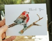 Bird Cards Set, Thank you cards, Bird Notecards, Gift for teacher, Watercolor Cards, Blank note cards