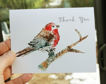 Bird Cards Set, Thank you cards, custom notecards, Bird Notecards, Gift for teacher, Watercolor Cards, Blank note cards