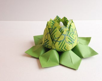 Origami Tea Light Paper Flower -  battery LED candle - holiday decor, Valentine's Day, St Patrick's Day,  hostess gift, can ship directly'