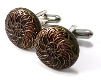Antique Button Cuff Links - Vintage Button Cufflinks - Autumn Flame