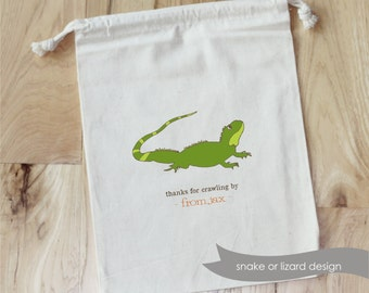 REPTILE - LIZARD - SNAKE - Personalized Favor Bags - Set of 10 - Birthday - reptiles - boy party