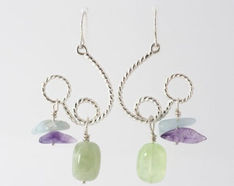 Artisan Flourite, Aquamarine, Amethyst Bead and Sterling Silver twisted wire Loopy Dangle Earrings