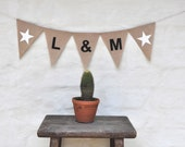 YOUR INITIALS BANNER Hessian Burlap Custom Photo Prop Celebration Wedding Engagement Party Bunting Garland Decoration Baby Shower stars