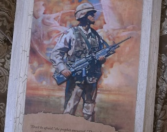 OOAK Scripture and soldier, Recycled wall panel Art, repurposed door panel, antiqued white