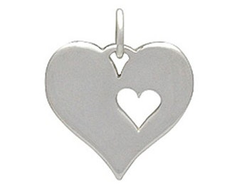 Sterling Silver Heart with Heart Cutout Charm