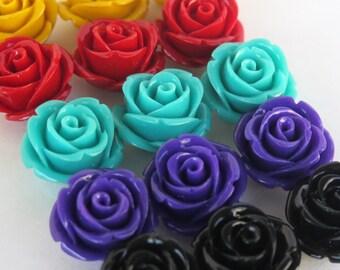 15PCS - Rose Cabochons - 20mm - 5 Color Mix - Holes for Stringing - RHC3