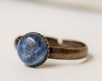 Blue Sodalite Ring Blue Stone Ring Blue Gemstone Ring Blue Sodalite Gemstone Ring Blue Ring Blue Round Ring Small Blue Ring