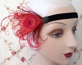1920's headband flapper headband in black and red with bird friendly feathers and vintage style rhinestone button
