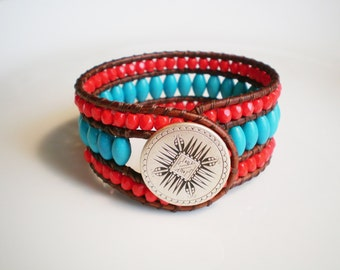 Turquoise and Red Cuff Southwest Leather Cuff Boho Cuff
