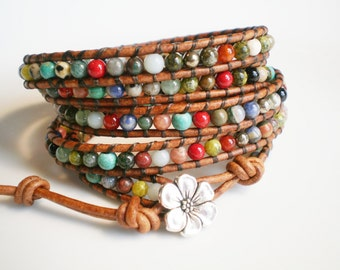 Leather Wrap Bracelet Beaded Leather Cuff Gemstone Bracelet Multicolor Bracelet 5X Wrap Bracelet Rustic Jewelry