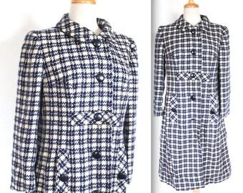 Vintage 1960's Coat // 60s Navy Blue and White Plaid Wool Coat // Merry Mod Long Coat