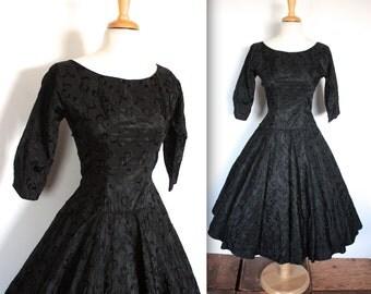 Vintage 1950's Dress // 50s Black Taffeta Filigree Embroidered Swing Cocktail Dress with Red Crinoline // DIVINE