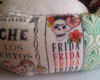 the FRIDA FANTASTICO in Eggplant Donut Dog Bed Frida Kahlo Day of The Dead Dia de los Muertos