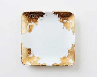 Gold Leaf Catchall Dish (Square)