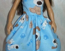 Handmade doll clothes  - blue, white and brown puppy print dress