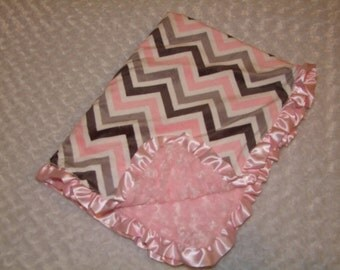 Pink and Gray Chevron  MINKY Blanket-  Ships in 1-3 Days