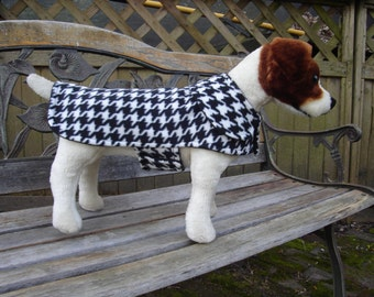 Black and White Houndstooth Fleece Coat- Size Small- 12 to 14 Inch Back Length - Or Custom Size