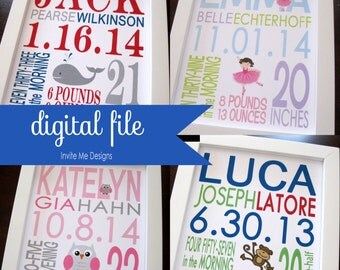 THREE DIGITAL FILEs Birth Print Baby Boy Girl Nursery Decor Wall Art 8 x 10 or 11 x 14