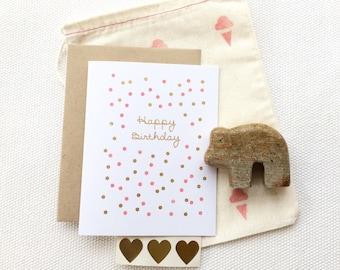 Confetti Happy Birthday (Gocco printed)
