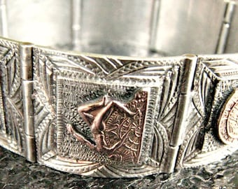 Vintage Sterling Silver Hinged Panel Bracelet Mexico Aztec/Mayan Motif Detailed Design Figural Brass Accents