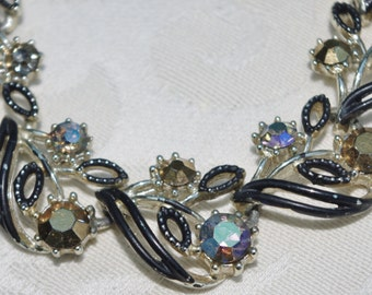 Vintage - STUNNING - Necklace and Earring Set - Black and Aurora Borealis Crystal - c1950s