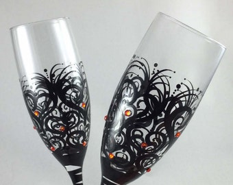 Wedding Toasting Flutes with colored crystals, champagne glasses, personalized