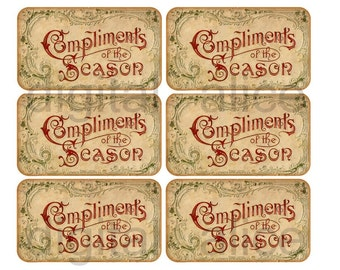 ANTIQUE CALLING CARD - Christmas Compliments of the Season - Instant Download Digital Printable Cards,Tags, Greetings for gifts and more