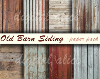OLD BARNWOOD TEXTURES Paper Pack- Digital Papers - 8 Worn Barn Siding Wood Finishes, Weathered Wood,Instant Printable Download -paper crafts
