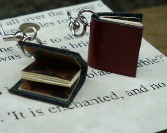 Antique Red Leather Book Earrings, surgical steel, old paper and marbled endpapers