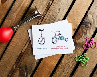 Unicycle/Tricycle Notecard (greeting card, bicycle, blank interior for thank you, get well, thinking of you, friendship, humor)