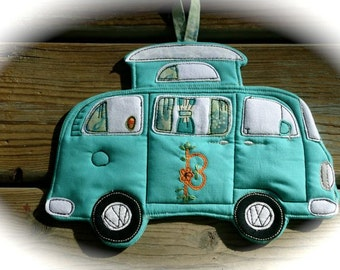 Made to order, VW Camper Bus Potholder, Camping Series Potholder