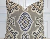 IKAT -Decorative Pillow Cover - Gray Pillow - Navy Tan Charcoal  Accent Pillow - Kilim Pillow