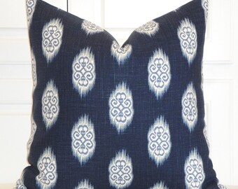 Decorative Pillow Cover - Throw Pillow - Accent Pillow  - IKAT- Blue Navy - Light Blue - Sofa Pillow
