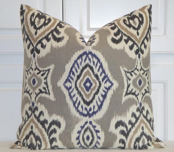Ikat Decorative Pillow Cover Gray Pillow Navy Tan