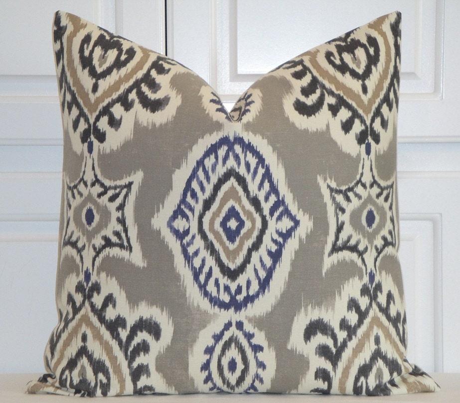 Ikat Throw Pillows Etsy : IKAT Decorative Pillow Cover Gray Pillow Navy Tan