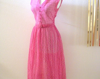 Vintage PINK 40s Dress - Pink WWII Rockabilly Day Dress - Sheer 1940s Cap Sleeve Day Dress with Metal Zipper - Size Small - Medium estimated