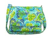 Mosaic Print Messenger Purse in Blues and Greens, Fabric Crossbody Bag, Blue Green Medium Purse, Cross Body Pocketbook, Handmade Handbag