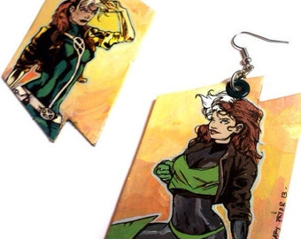 X-Men Rogue Earrings - Through the Ages - Hand Painted X-Men Comic Book Earrings