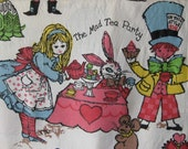 Vintage Alice in Wonderland Curtains / Fabric / one pair / two panels