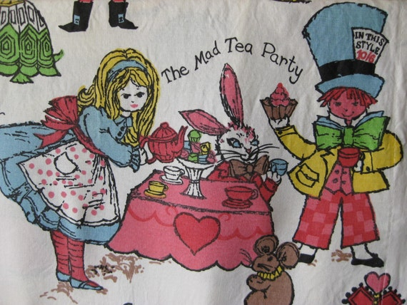 Curtains Ideas alice in wonderland curtains : Vintage Alice in Wonderland Curtains / Fabric / one pair / two