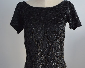 Vintage 1960s JO RO IMPORTS Black Sequined Beaded Fringe  Evening Top Handicraft Cropped Size M