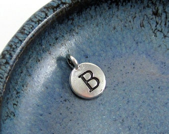 """NEW TierraCast Silver Letter """"B"""" Disk Charm *YOU Collection*"""