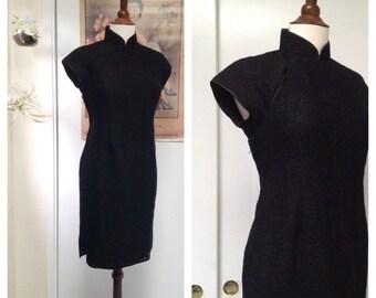 Vintage black lace qipao M