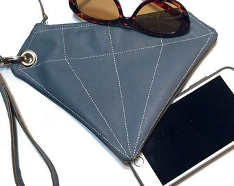 Ladies Leather Clutch, Leather Clutch, Leather Bag, Leather Diamond Clutch, Bridesmaids Gifts, Girlfriend Gift, Gift for Mom
